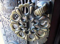 amazing bronze door handle of romanian monastary