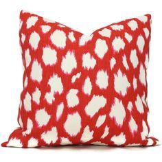 Kate Spade Maraschino Leocat Pillow Cover Choose your size  Square, Eurosham or Lumbar pillow, Kravet fabric, toss pillow, red throw pillow