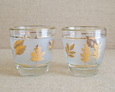 Pair of Vintage Frosted Libby Golden Foliage glasses by MyAffordableVintage on Etsy