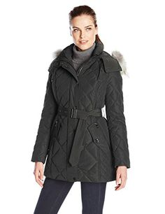 London Fog Womens Heritage Down Quilted Jacket with Fur Hood Black XSmall -- Visit the image link more details.