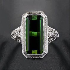 Natural Emerald Baguette Antique 925 Silver Engagement Ring Women s Jewelry  Antique Jewelry c4a713d51b51