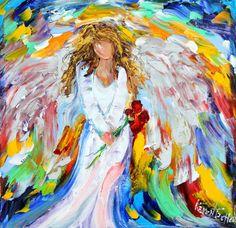Original oil painting Angel Watching Over Me by Karensfineart