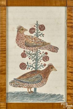 PA watercolor fraktur drawing of two birds - Price Estimate: $500 - $700