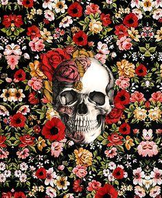 In bloom floral skull by KristyPatterson