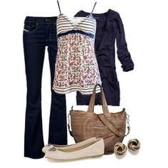 Tube top under cami with blue cardigan and diesel jeans