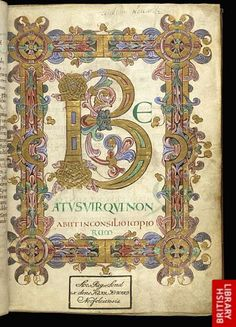 Arundel MS 155, written by a scribe named Eadui Basan at Christ Church, Canterbury, probably between 1012 and 1023. It contains the 150 psalms and other texts used by medieval Benedictine monks, but what makes the book remarkable is its sumptuous decoration.