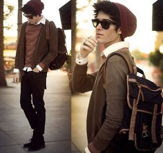 hipster layered with backpack, men's fashion