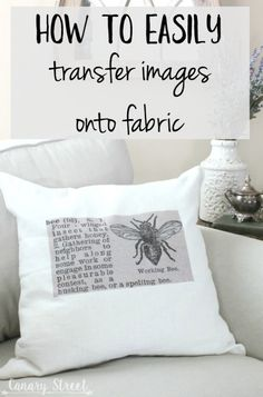 How To Easily Transfer Images Onto Fabric - Mod podge - How to easily transfer images onto fabric- canarystreetcraft…. Make these easy DIY throw pillows - Fabric Art, Fabric Crafts, Sewing Crafts, Sewing Projects, Diy Print On Fabric, Fabric Paint Shirt, Sewing Tips, Fabric Dolls, Sewing Tutorials