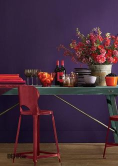 This regal shade of purple would look great on an accent wall or as the dominant color in a room. Update your kitchen with Proper Purple BEHR paint for a classic look and feel. Purple Kitchen Walls, Purple Accent Walls, Kitchen Colors, Behr Paint Colors, Purple Rooms, Purple Interior, Wood Interiors, Cool Rooms, Room Paint