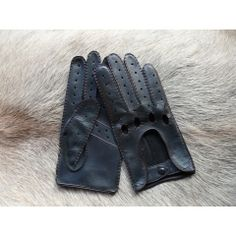 Men's Driving Deerskin Leather Gloves With Red Stitching