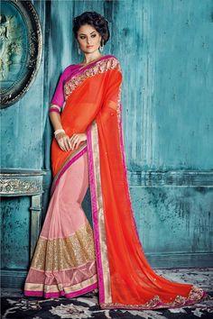 Buy Red  Georgette Designer Saree Online in low price at Variation. Huge collection of Designer Sarees for Wedding. #designer #designersarees #sarees #onlineshopping #latest #lowprice #variation. To see more - https://www.variationfashion.com/collections/designer-sarees