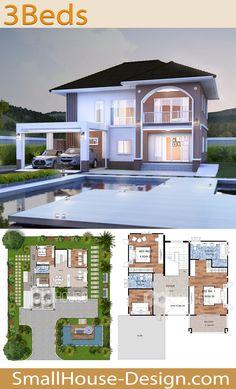 House design idea Meter Feet 3 Bedrooms - Home Ideas Modern House Floor Plans, 3d House Plans, Model House Plan, House Blueprints, Bedroom House Plans, Dream House Plans, Floor Plans 2 Story, 2 Story House Design, Sims House Design