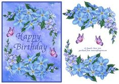 forget me not and butterflies birthday decoupage card on Craftsuprint designed…