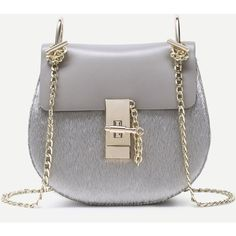 SheIn(sheinside) Grey Horse Hair Covered PU Saddle Bag With Chain... ($28) ❤ liked on Polyvore featuring bags, handbags, shoulder bags, polyurethane handbags, grey purse, horse saddle bags, gray shoulder bag and chain handle purses