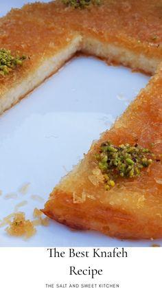 Middle East Food, Middle Eastern Desserts, Middle Eastern Dishes, Easy Kunafa Recipe, Knafeh Recipe Lebanese, Arabic Dessert, Arabic Sweets, Arabic Food, Cake