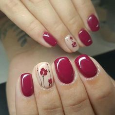 "If you're unfamiliar with nail trends and you hear the words ""coffin nails,"" what comes to mind? It's not nails with coffins drawn on them. It's long nails with a square tip, and the look has. Fall Nail Art Designs, Colorful Nail Designs, Nail Polish Designs, Red Nails, Hair And Nails, Purple Nail, Pink, Cute Nails, Pretty Nails"