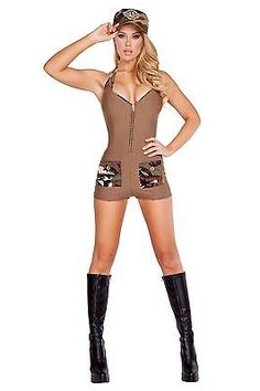 Sexy-Women-039-s-Sultry-Soldier-Military-Army-Halloween-Show-Party-Genuine-Roma