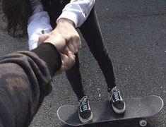 Skateboard and Vans hi tops Skater Couple, Skater Boys, Cute Relationship Goals, Cute Relationships, Cute Couples Goals, Couple Goals, Couple Tumblr, Ulzzang Couple, Photo Couple
