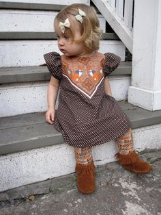 fox print polka dot dress baby toddler dress Supayana- brown. $39.00, via Etsy.