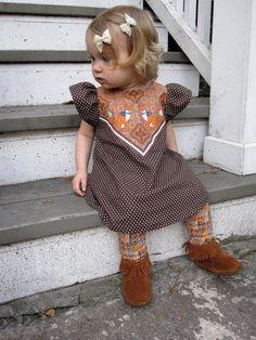 fox print polka dot dress baby toddler dress Supayana- brown