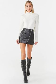 A faux leather skirt featuring a belted waist, an asymmetrical zip-front, a single flap snap-button pocket, and mock zippered pockets. Sweater Shop, Ugly Sweater, Denim Mini Skirt, Mini Skirts, Shop Forever, Forever 21, Faux Leather Skirt, Fall Skirts, Dress Codes