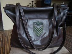 dark brown leather bag leather tote recycled military