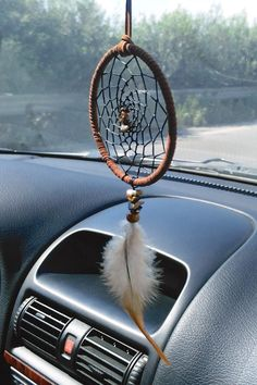 Car dream catcher small dreamcatcher rear view mirror brown car catcher brown dream catcher for car car decor boho style Dream Catcher For Car, Dream Catcher Decor, Dream Catcher Boho, Diy Dream Catcher Tutorial, Macrame Wall Hanging Patterns, Car Accessories For Women, Dream Catcher Necklace, Rear View Mirror, Dream Cars