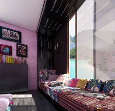 palet bedroom 05 600x581 Colorful pallet reading area in pallet home decor pallet living room pallet bedroom ideas  with