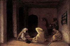 Algérie - Peintre Français Antoine GADAN (1854-1934) ,Huile dur toile 1882, Titre : La partie d'échec à Bône