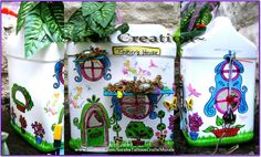 """""""Tinkers House (Garden home for our fairy friends) Using a empty plastic container, fairy stickers and a set of assorted Sharpie Markers along with colored popsicle sticks, pipe cleaners, tooth picks,dried moss, clear flat glass beads, dried flowers, fake leaves, a craft knife, Blue hemp mini rope, red colored jewels, and super or tacky glue My 5 yr old daughter and I created several fairy homes out of things from the recycle bin and things from the Dollar Tree store! A great fun project."""""""