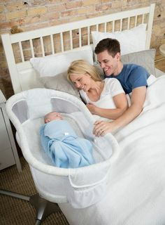 Halo co-sleeper on wheels and mesh --- We didn't have our baby in our room, but if that ever becomes a necessity with the next baby, this is GENIUS