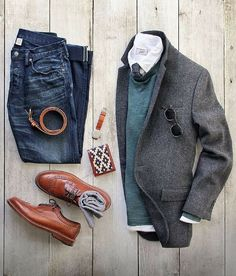 Winter men's outfit with jeans and wool sport jacket