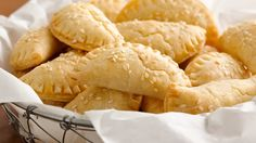 Flaky half-moon pastries are filled with a double cheese and chile filling.