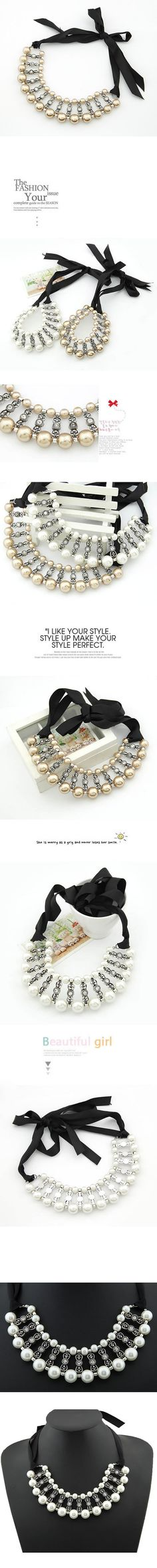 Extreme White Handmade Imitate Pearl Alloy Korean Necklaces http://www.asujewelry.com