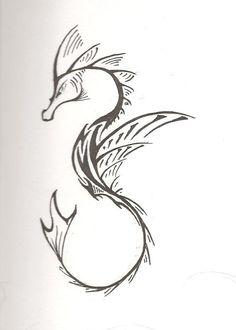 Unique Tribal Seahorse Tattoo Stencil