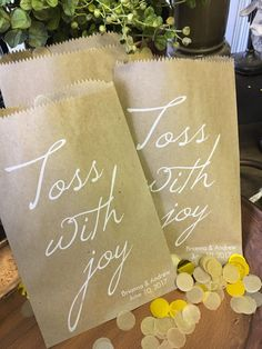 Wedding Petal or Confetti Toss Bag Recycled Paper Favor Bags - Flower Petals, Confettti, Birdseed Toss Favor Bags, Pkg of 25 Toss With Joy by DetailsonDemand on Etsy
