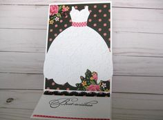 Handmade Wedding Card, Bridal Dress Greeting Card, Wedding Dress Paper handmade greeting card bridal shower card  Wedding Gift by BellaBoutique23 on Etsy