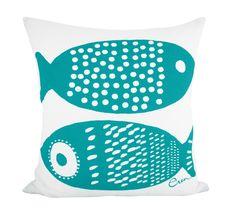 DOUBLE TUNA, sea life design barkcloth cotton pillow