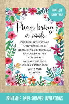 Boho baby shower invitations | bring a book card | flowers | colorful