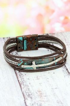 Distressed Turquoise and Two-Tone Wavy Cross Multi-Strand Magnetic Bracelet Religious Jewelry, Rustic Chic, New Fashion, Arm, Fashion Jewelry, Turquoise, Bracelets, Pretty, New Trends