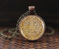 Mayan Calendar pedant, Mayan Calendar Jewelry, Aztec Calendar Necklace, Mayan Pendant, Mayan Jewelry, glass dome pendant, mens necklace