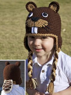 Crochet Beaver Earflap Hat with Tail