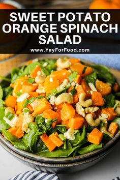 A colourful and delicious fall salad recipe featuring a combination of tender sweet potato, sweet oranges, and green spinach. It's paired with a tasty homemade maple orange vinaigrette. #saladrecipe #salad #sweetpotato #spinachsalad #sidedish #easyrecipes #fallrecipes #fallsalad