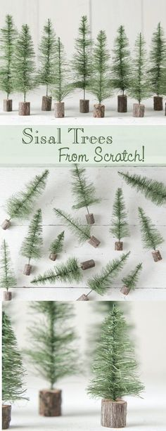How to Make Sisal Bottle Brush Trees - From Scratch! DIY Craft Tutoria – Smile Mercantile Craft Co. crafts decoration How to Make Sisal Bottle Brush Trees - From Scratch! Miniature Christmas Trees, Beautiful Christmas Trees, Christmas Projects, Christmas Tree Ornaments, Holiday Crafts, Christmas Decorations, Holiday Decorating, Christmas Ideas, Christmas Meaning