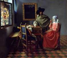 Johannes Vermeer Dutch painter specialized in domestic interior scenes of middle class life cm) Fine Art Print Framed, Poster, Canvas Prints, Puzzles, Photo Gifts and Wall Art Wine Painting, Painting Prints, Fine Art Prints, Canvas Prints, Framed Prints, Johannes Vermeer, Beaux Arts Architecture, Vermeer Paintings, Art History