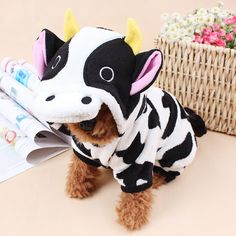 2016 New Dairy Cow Costume For Pets Dog Clothes Winter For Dog Jumpsuit Pet Overalls Dog Coat for Dog