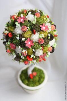 Купить Топиарии с использование глины (варианты) - оливковый, подарок на день рождения, Дерево счастья, бонсай