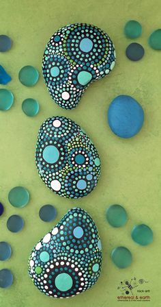 Painted Stones - Mandala Inspired Design - Natural Home Decor - Rock Art - Garden Art - blue luminescence collection #48 - $21.00 - FREE Shipping! ethereal & earth - otherworldly & of this world creations.