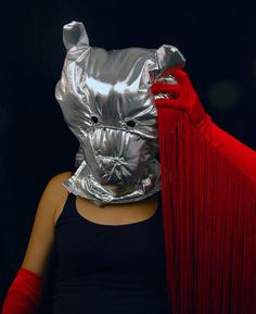 Maria Hupfield, Artist in Bear Mask with Fringe Gloves, 2012