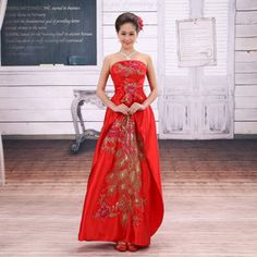 Dress / evening gown, Wedding dress / cheongsam / dress, Women's Clothing, Love Long Yu 2013 new bride wedding dress fashion improved long section of red toast clothing evening dress E02 $40usd
